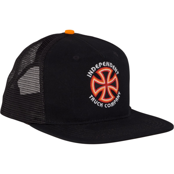 0a9f63935eedb Independent Bauhaus Crosses Black   Orange Mesh Trucker Hat - Adjustable -  Warehouse Skateboards
