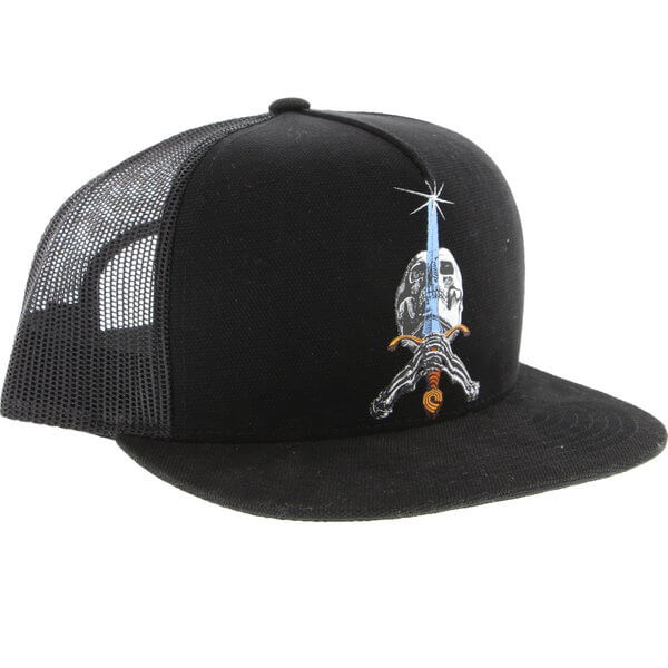 Powell Peralta Skull & Sword Black Mesh Trucker Hat - Adjustable