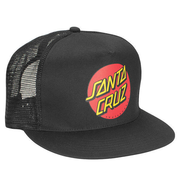 Santa Cruz Skateboards Classic Dot Black / Black Mesh Trucker Hat - Adjustable