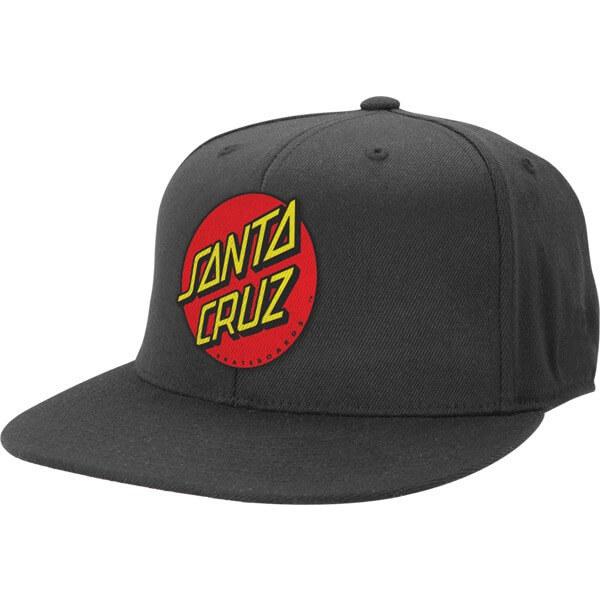 Santa Cruz Skateboards Classic Dot Black Fitted Stretch Hat - Large / X-Large