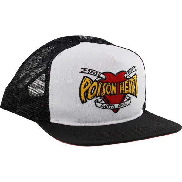 Santa Cruz Skateboards Poison Heart White / Black Mesh Trucker Hat - Adjustable