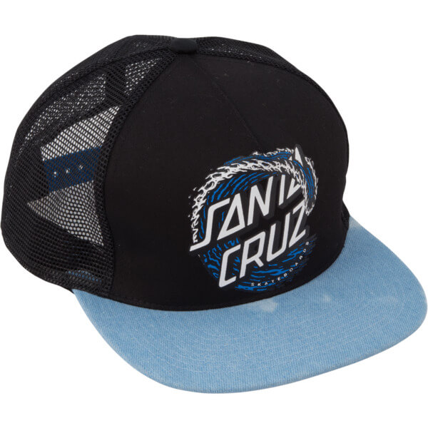Santa Cruz Skateboards Whitecap Dot Girls Black   Denim Mesh Trucker Hat -  Adjustable 0d980aba242
