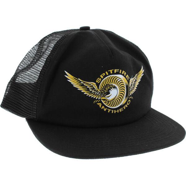 1c555ad6094 Spitfire Wheels x Anti Hero Classic Eagle Black Mesh Trucker Hat -  Adjustable - Warehouse Skateboards