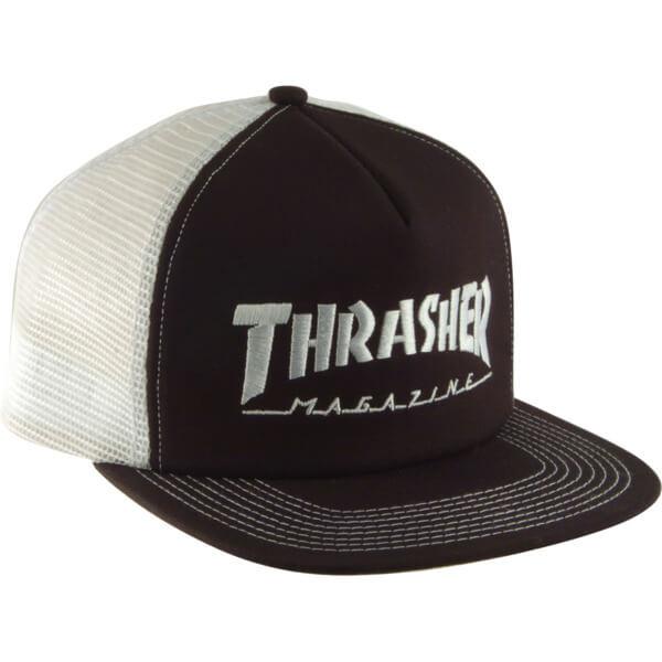 Thrasher Magazine Embroidered Logo Black   White Mesh Trucker Hat -  Adjustable - Warehouse Skateboards f594824fc95