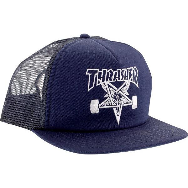 6d6072f285c Thrasher Magazine Sk8 Goat Navy Mesh Trucker Hat - Adjustable - Warehouse  Skateboards