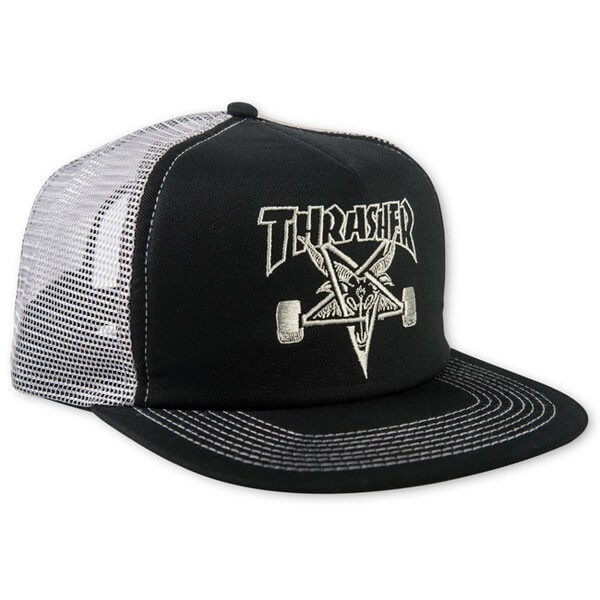 Thrasher Magazine Sk8 Goat Black Silver Mesh Trucker Hat