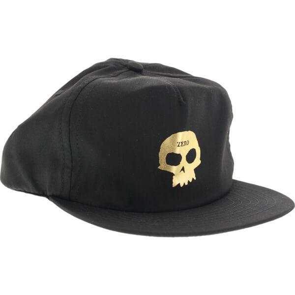 f3e7cee13f4 Zero Skateboards Skull Black   Gold Hat - Adjustable - Warehouse Skateboards