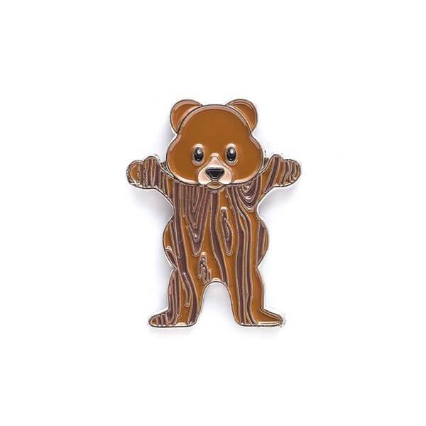 Grizzly Grip Tape Woodgrain Bear Lapel Pin