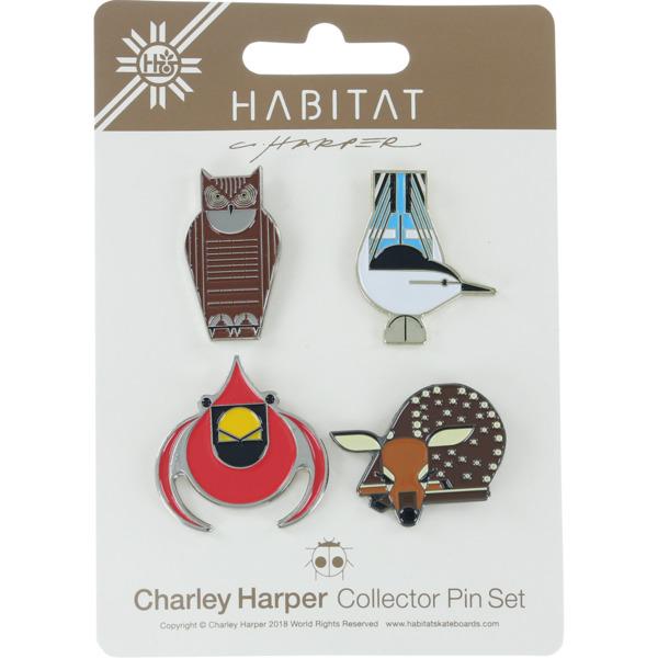 Habitat Skateboards Charley Harper 4 Pack Set of Lapel Pins