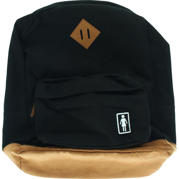 Girl Skateboards Weekender Black With / Brown Leather Backpack - One Size Fits All