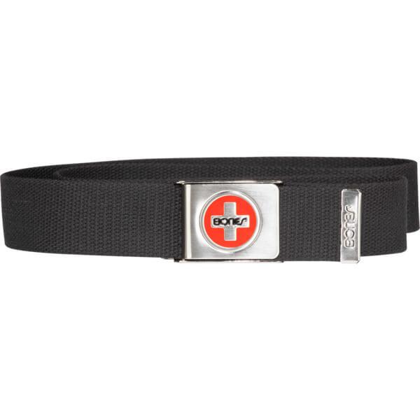 Bones Bearings Logo Canvas Black / Silver / Red Web Belt - Adjustable