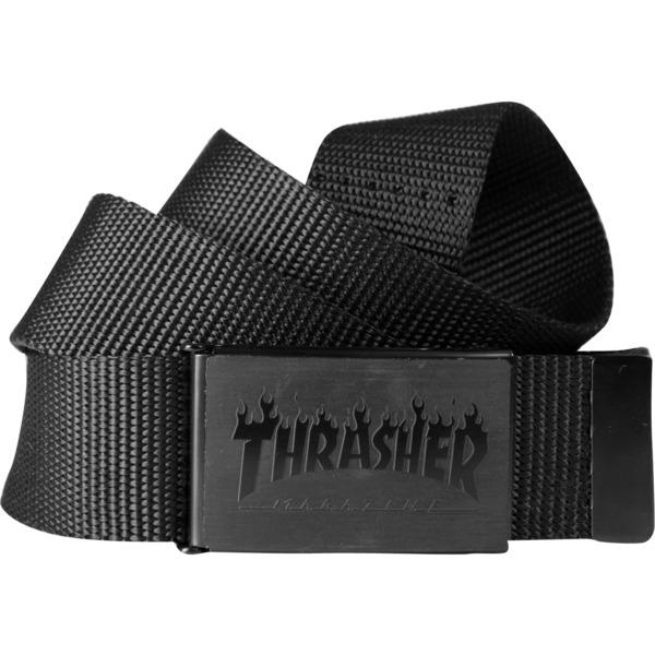 Thrasher Magazine Flames Black Web Belt - Adjustable