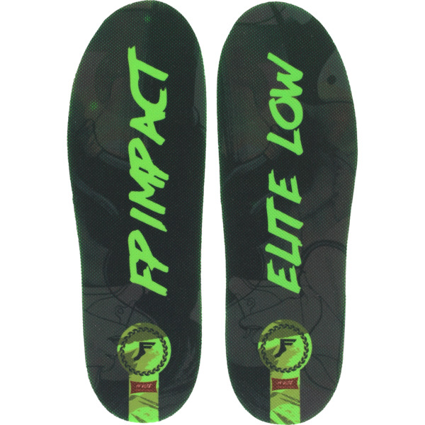 Footprint Insoles Elite Classic Black / Green Custom Orthotics Insoles Low Profile 3mm - Small (4-7.5)