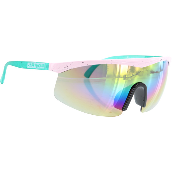 Happy Hour Skateboards Fire Birds Pink Teal Rainbow Sunglasses