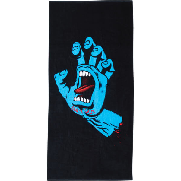 Santa Cruz Skateboards Screaming Hand Black /Blue Beach Towel