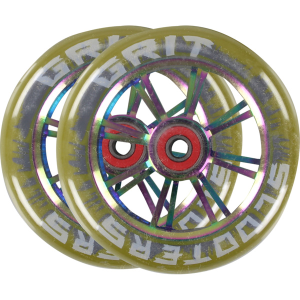 Grit 100mm 6-Spoke Gum / Neo Chrome Scooter Wheels - 2 Pack
