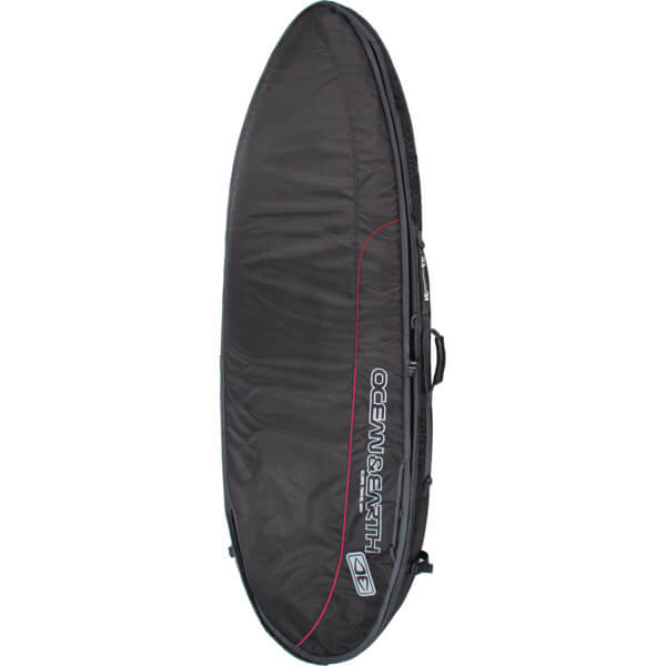 "Ocean & Earth Double Wide Compact Black / Red / Grey Shortboard Board Bag - 1-2 Boards - 25"" x 6'4"""