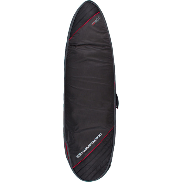 "Ocean & Earth Double Compact Black / Red / Grey Fish Surfboard Board Bag - 1-2 boards - 22.5"" x 7'2"""