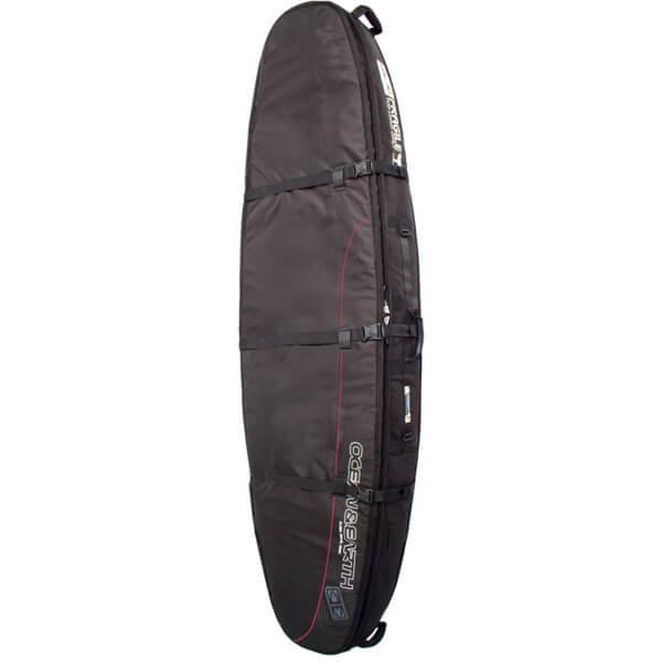 """Ocean & Earth Double Coffin Black / Red / Grey Longboard Surfboard Bag - 1-2 Boards - 8'6"""""""
