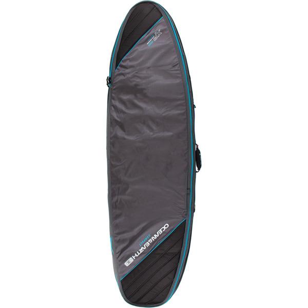 "Ocean & Earth Double Compact Black / Blue Shortboard Board Bag - 1-2 boards - 22.5"" x 6'4"""