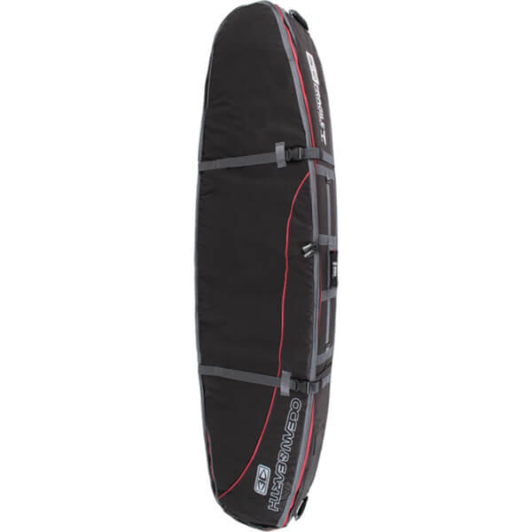 "Ocean & Earth Double Coffin Black / Red Shortboard Board Bag - 1-3 Boards - 23"" x 6'6"""