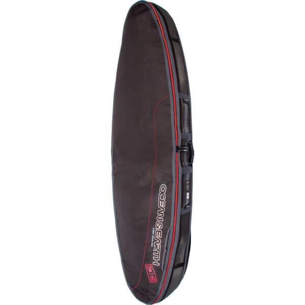 "Ocean & Earth Triple Compact Black / Red / Grey Shortboard Board Bag - 1-4 Boards - 22.5"" x 6'4"""
