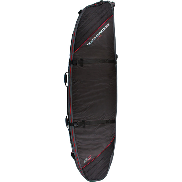 Ocean & Earth Quad Wheel Black / Red Shortboard / Fish Surfboard Bag - 8'