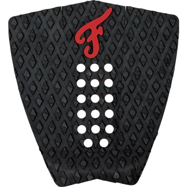 Famous Surf Nathaniel Curran Stranded Black / Red Surfboard Traction Pad - 3 Piece