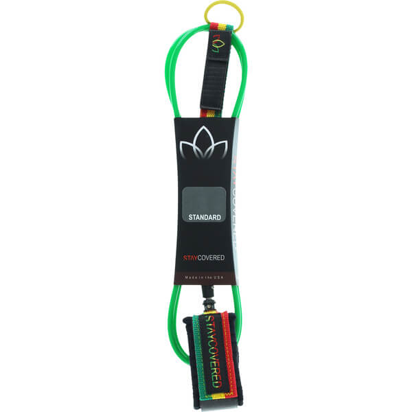 Stay Covered Deluxe Reg Green / Rasta Surfboard Leash - 6'