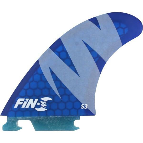 Fin-S S3 Honeycomb Light Blue Fin-S Thruster Surfboard Fins - Set of 3 Fins