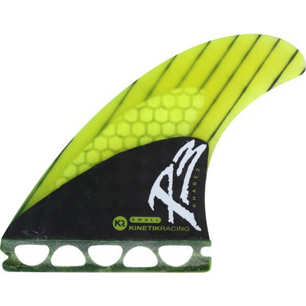 Kinetik Racing Phase 3 Neon Lime / Black Futures Thruster Surfboard Fins - Set of 3 Fins