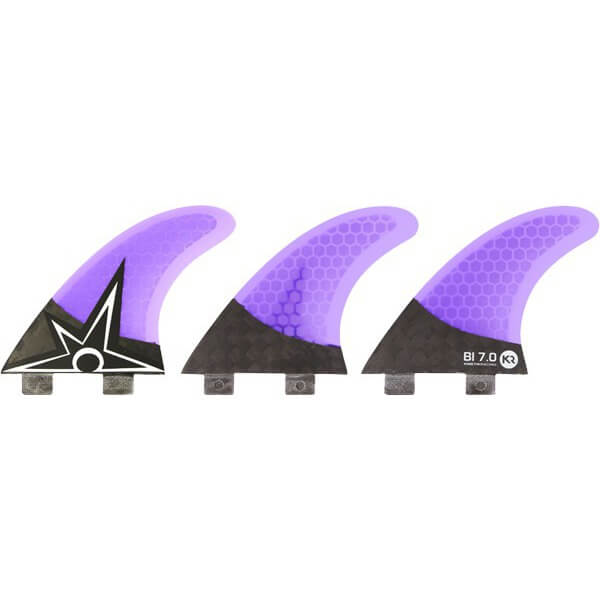 Kinetik Racing Bruce Irons Carbo Tune 7.0 Extra Small / Small Purple / Carbon FCS Thruster Surfboard Fins - Set of 3 Fins