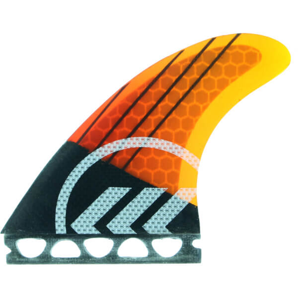 Kinetik Racing Joel Parkinson Phase 4 Small / Medium Yellow / Orange Futures Thruster Surfboard Fins - Set of 3 Fins