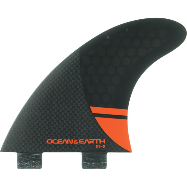 Ocean & Earth OE-2 Control Small Black / Red Thruster Dual Tab - Set of 3 Fins