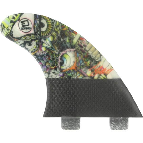 3D Fins Josh Kerr Darkside Carbon Based 5.0 Twin Tab FCS Thruster Surfboard Fins - Set of 3 Fins