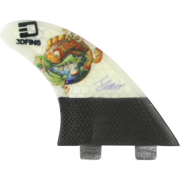 3D Fins Josh Kerr Darkside Carbon Based 7.0 Ying Yang Fish FCS Thruster Surfboard Fins - Set of 3 Fins