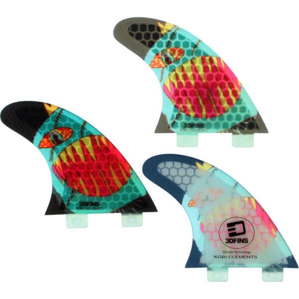 3D Fins Kobi Clements Fin Monsta Small FCS Thruster Surfboard Fins - Set of 3 Fins