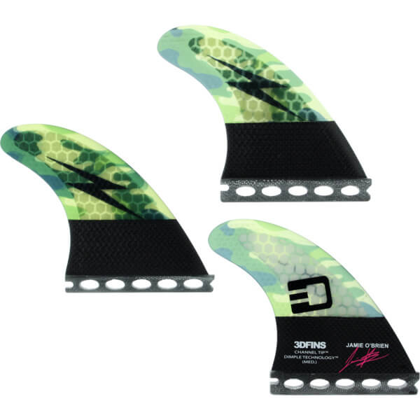 3D Fins Jamie O'Brien Channel Tip Technology (Medium) Signature Series Camo Futures Thruster Surfboard Fins - Set of 3 Fins