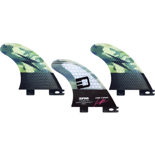 3D Fins Jamie O'Brien Channel Tip Tech Camo Thruster 3DF2 Base - Set of 3 Fins