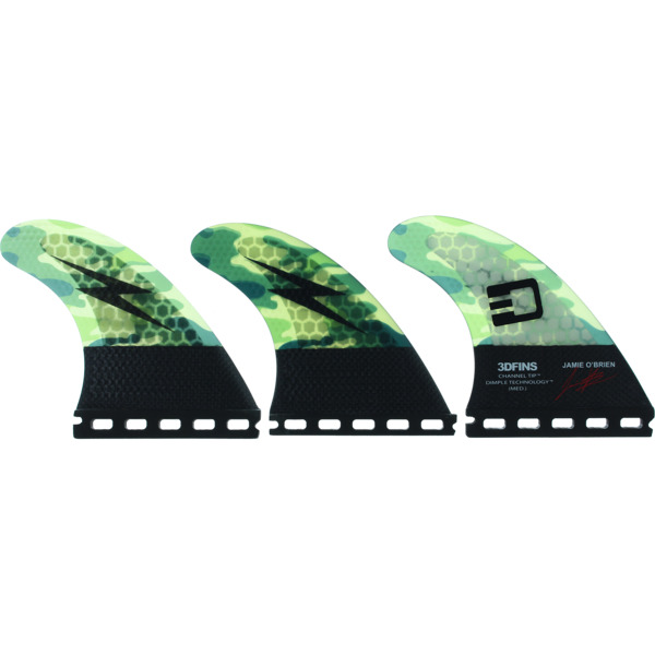 3D Fins Jamie O'Brien Green Camo Medium Thruster Futures
