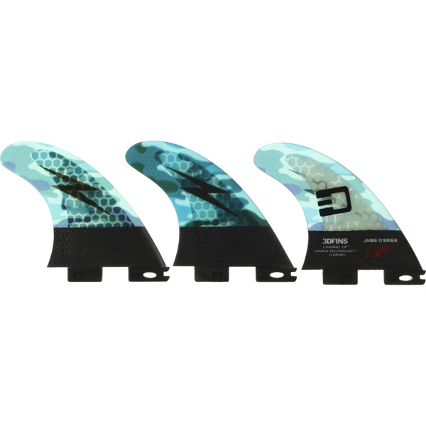 3D Fins Jamie O'Brien Blue Camo Large Thruster 2DF2
