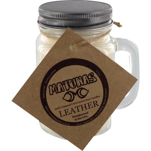 Matunas 16 oz. Glass Mug Leather Scented Soy Surf Wax Candle