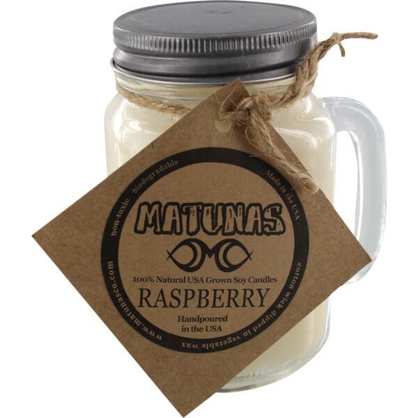 Matunas 16 oz. Glass Mug Raspberry Scented Soy Surf Wax Candle