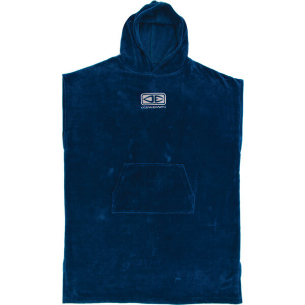 Ocean and Earth Mens Corp Deep Blue Hooded Poncho