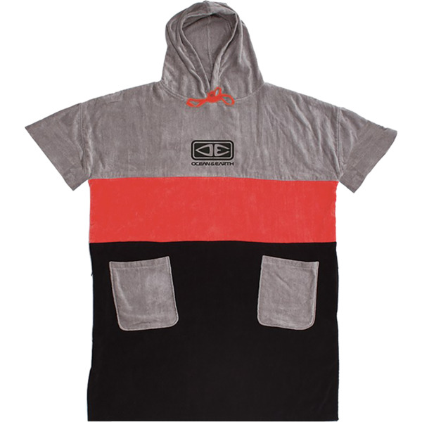 Ocean and Earth Mens Strike Red / Grey / Black Hooded Poncho