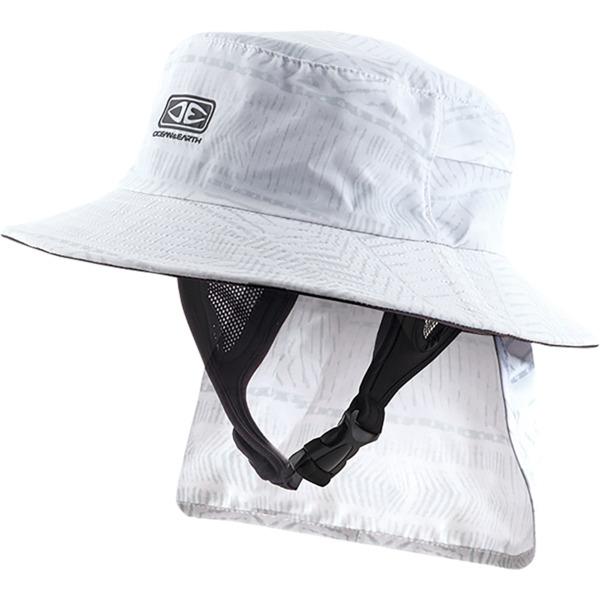 "Ocean & Earth Mens Indo Stiff Peak White Bucket Surf Hat - X-Large/24.4"""