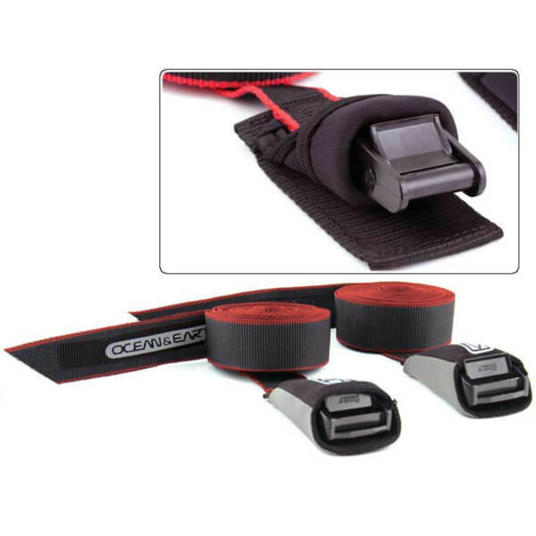 Ocean & Earth SUP / Longboard Black Tie Down Straps - 14'