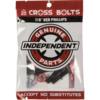 "Independent Cross Phillips Head Black / Red Skateboard Hardware Set - 7/8"""