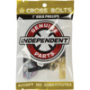 Independent Cross Phillips Head Black / Gold Skateboard Hardware Set - 1""