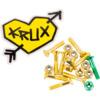 """Krux Trucks Krome Phillips Head 7 Gold / 1 Green Skateboard Hardware Set - 1"""""""